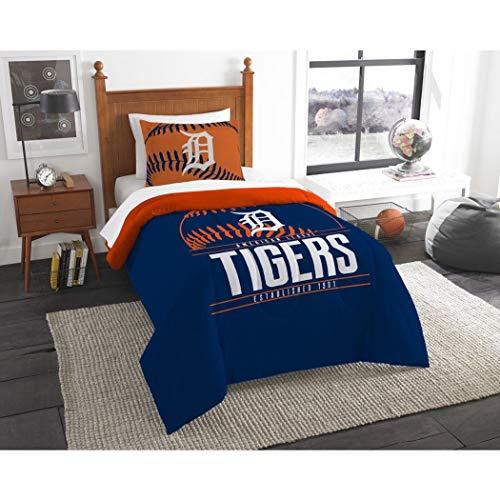 - 2 Piece MLB Tigers Comforter Twin Set, Baseball Themed Bedding Sports Patterned, Team Logo Fan Merchandise Athletic Team Spirit Fan, Blue Orange White, Polyester