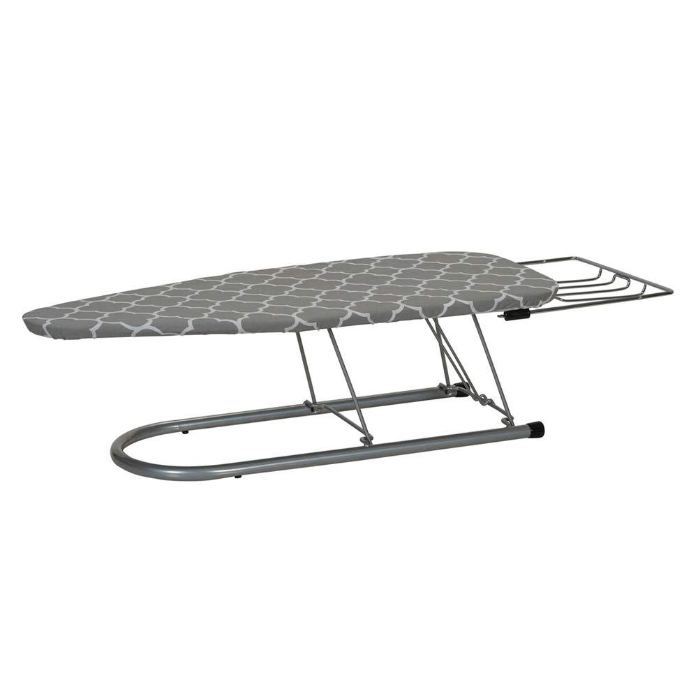 MWShop Portable Folding Ironing Board Iron Rest Has a 12 X 30 Inch Steel Mesh Ironing Surface Use Steam Irons Its Cotton Cover Fiber Pad are Sewn Together Silver Steel Top 141[並行輸入] B07JN1W3MT