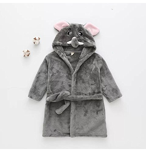 Matissa Children's Robe Dressing Gown Bathrobe Animal Hooded Towel Robe Sleepwear Cosplay Kids Costumes Pajamas (X Large, Grey Elephant)