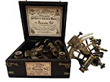U.S Handicrafts J. Scott London Brass Ship History Sextant with Hardwood Box.J. Scott London Brass Ship History Sextant with Hardwood Box.