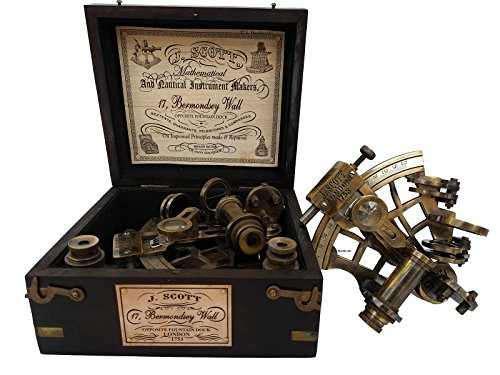 US HANDICRAFTS J. Scott London Brass Ship History Sextant with Hardwood Box.J. Scott London Brass Ship History Sextant with Hardwood Box.