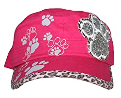 Paw Print Bling Military Style Cadet Hat