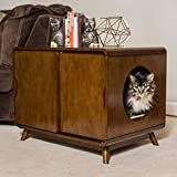 Modern Cat Litter Box With Two Sliding Doors And Walnut Finish
