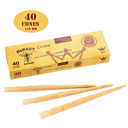 HORNET Pre-Rolled Cones, 40 PCS Cigarette Tubes of King Size, Raw Cones Rolling Papers with Tips (110mm)