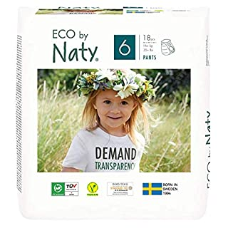 Eco by Naty Pull-Ups Training Pants, 4T-5T (Size 6), 18 Ct, Plant-Based and No Nasty Chemicals