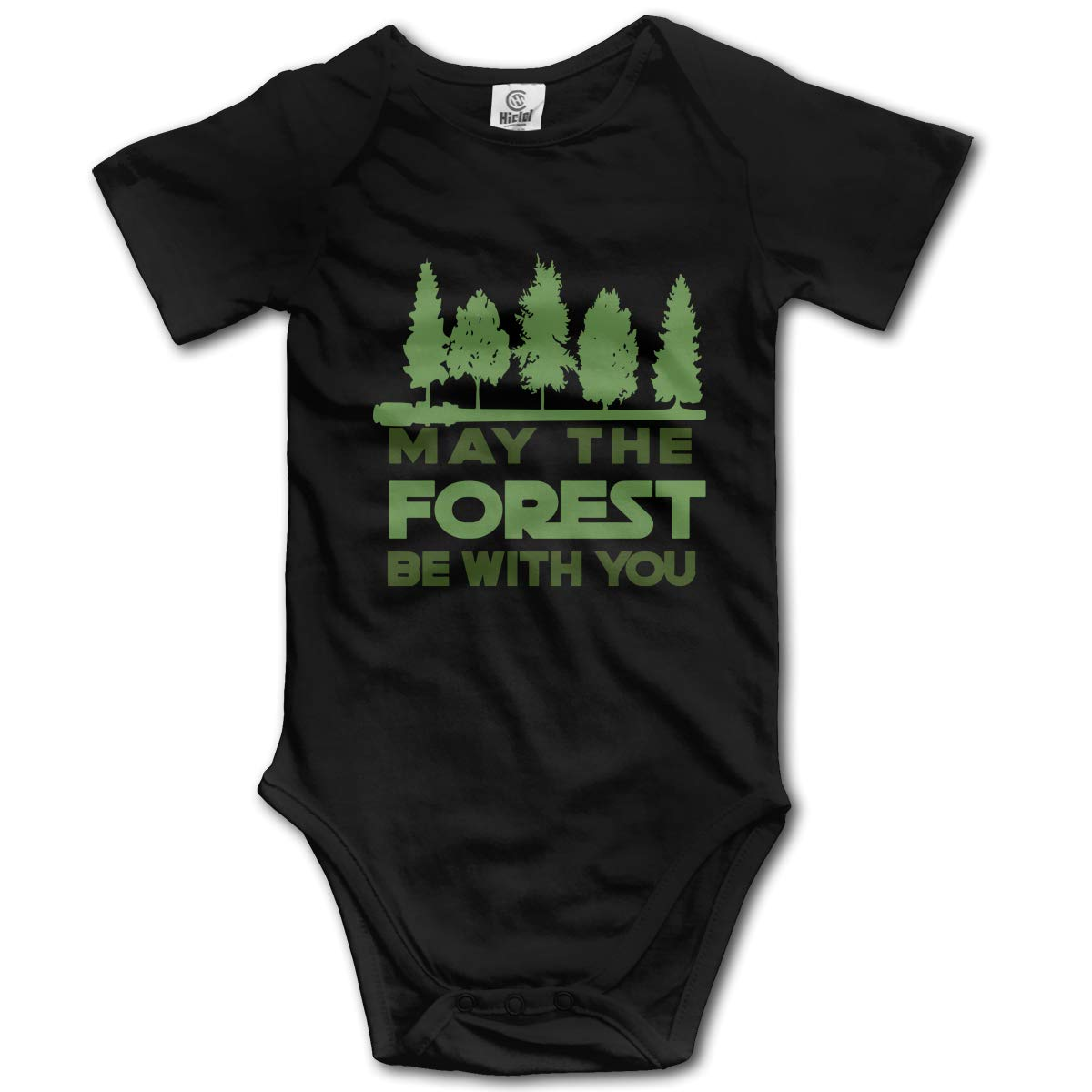 Tbjrk09-9 Short Sleeve Cotton Rompers for Baby Girls Boys Fashion May The Forest BE with You Crawler