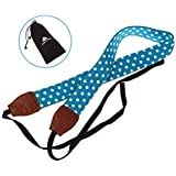 Nine States Top Quality Soft Cotton Polka Dots Print Universal Adjustable Camera Camcorder Shoulder Neck Strap Belt with Harness Adapter Fits for DSLR Camera Nikon Canon Panasonic Sony Samsung Olymplus Fujifilm (Sky Blue)(AR-002 Series)