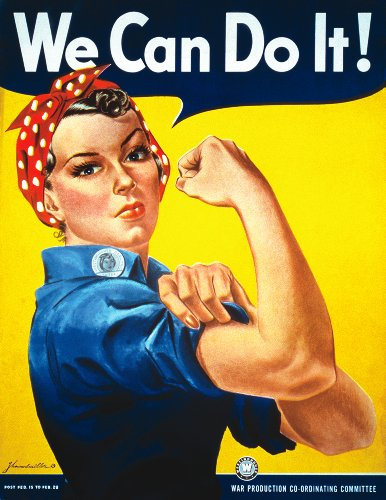 (Rosie The Riveter by J. Howard Miller We Can Do It Art Print, 8.5 x 11 Inches)