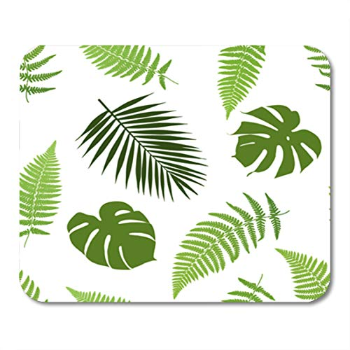 Semtomn Gaming Mouse Pad Green Leaf Tropical Leaves Fern Jungle Hawaiian Border Grass 9.5