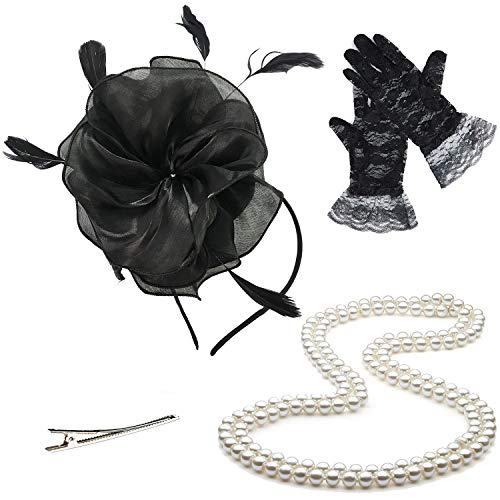Fascinators 20s 50s Hats for Womens,Cocktail Party Hat,Tea Party Wedding Headband,w/Pearl Necklace & Lace Gloves (OneSize, 03-Black)