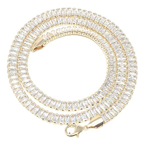 14K Yellow Gold Finish Iced Out 5mm Baguette Princess Cut Tennis Chain Necklace Simulated Diamonds (18)