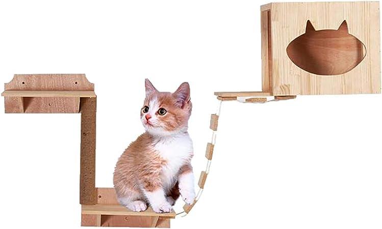 FPigSHS Montura de Gato montado en la Pared Escalera para Gatos montada en la Pared Plataforma de Salto para Gatos Trampolín Colgador para Gatos Casa de Mascotas Madera Maciza: Amazon.es: Hogar