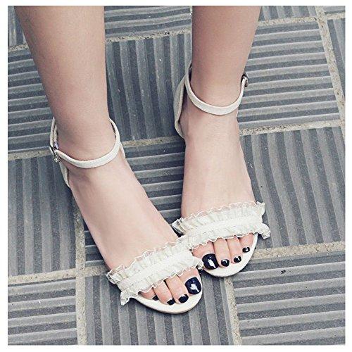 Sandals apricot Fashion Strap Ankle TAOFFEN Women wvfyZqn4W