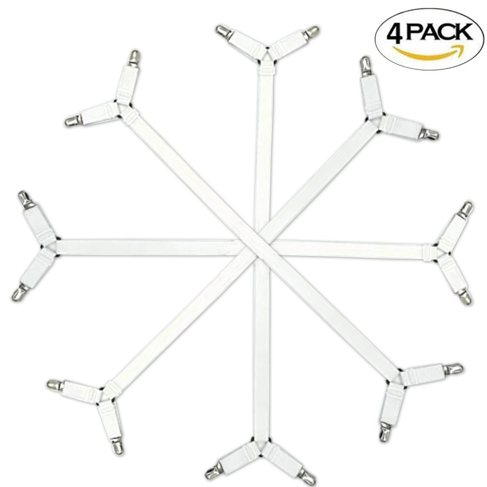 Addas Sheet Clips,Under Mattress Bed/Fitted Sheet Fastener,Long Strap Clip Bands,4 Pieces (White)