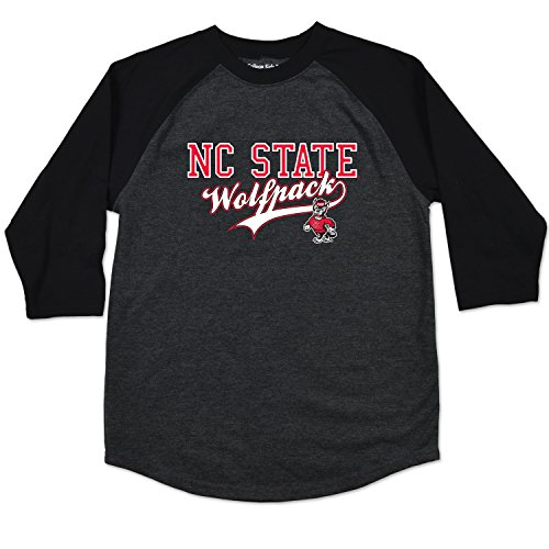 - College Kids NCAA North Carolina State Wolfpack Youth Home Run Raglan Tee, Size (14-16)/Large, Black Heather