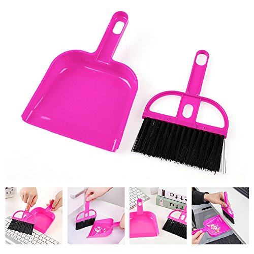 YOUDirect Broom Brush Dustpan Set, Mini 2 in 1 Whisk Broom + Dustpan Brush Tiny Pet Waste Shovels Cleaning Tools for Pets Office Home Desk Computer Keyboard Kitchen Car Gap ()