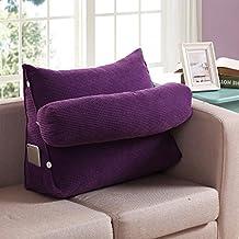 FLHSLY bedside sofa backrest lumbar support cushions reading pillows bedside Solid color backrest , purple , big