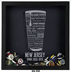 Beer cap shadow box new jersey typography for Craft beer typography beer cap shadow box beer cap collector