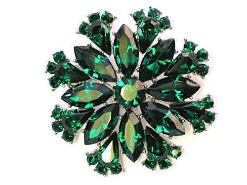 Emerald Green Rhinestone Pin (Faship Gorgeous Sparkling Crystal Floral Pin Brooch (Emerald))