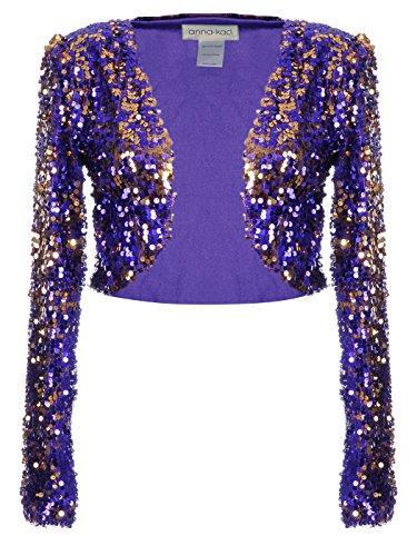 Anna-Kaci Womens Glitter Sequins Shiny Long Sleeve Cropped Bolero Blazers
