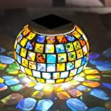 DAVEVY Solar Mosaic Glass Lights Lawn Lamp Table Lighting Outdoor Ball Stake Color Changing Globes Garden Lighting for Parties Decorations, Christmas(Multi Color)