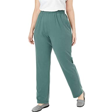 d82ebe5454a35 Woman Within Plus Size 7-Day Knit Straight Leg Pant - Antique Teal
