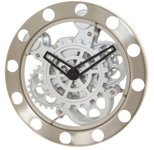 Kikkerland Gear Wall Clock, Nickel/White (Renewed)