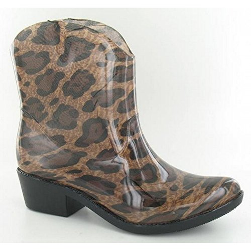 Spot On Mujeres / Ladies Chunky Heel Cowgirl Style Wellies Tan Leopard