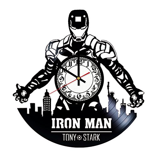 Iron Man Anthony Stark Handmade Vinyl Record Wall Clock - Get unique room wall decor - Gift ideas for his and her - Modern Unique Home Art Design