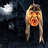 Shan-S Halloween Ghost House Props,Props Scary Hanging Severed Head Decorations,Life-Size Bloody Cut Off Corpse Head Ghost Animated Zombie Head for Ghost Festival Bars, Haunted Houses