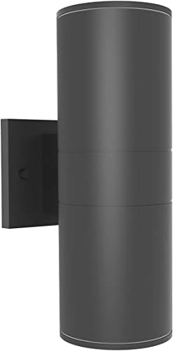 GetInLight LED Outdoor Cylinder Wall Sconce, Matte Black, Wall Lamp with Double Directions, Non-Dimmable, 12 Inch, 24W, 3000K Soft White , Waterproof IP65 Outdoor Wall Light for Porch,IN-0601-D1-BK-30