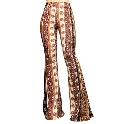 SMT Women's High Waist Wide Leg Long Bell Bottom Yoga Pants X-Large Vintage Rust -