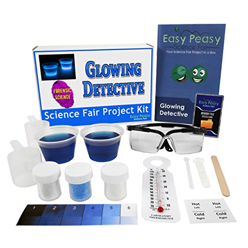 Easy Peasy Science Fair Project Kit - Glowing Detective - Top Forensic Science Learning Kit- Simple and ()