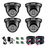 ZOSI 4 Pack 1080P 2.0MP Outdoor Indoor 3.6mm 24PCS Infrared IR Lens Day Night CCTV IR Cut Surveillance Security Camera Black
