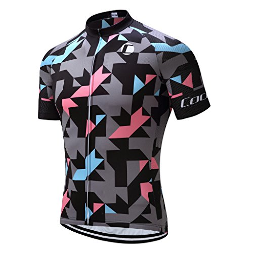 Coconut Ropamo Breathable Road Bike Biking Jersey Short Sleeve Mens Cycling Jersey with 3 Pockets (Chest 38-40