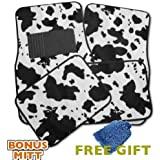 A Set of 4 Universal Fit Animal Print Carpet Floor Mats for Cars / Truck - Cow Print & Bonus Detailing WASH MITT