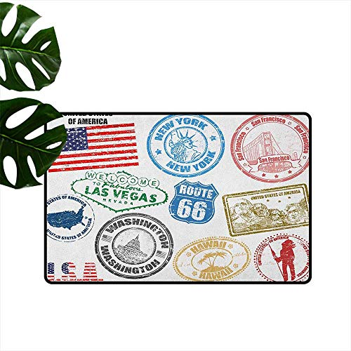 United States Door mat Customization Grunge Stamps of America Las Vegas New York San Francisco Hawaii Illustration Hard and wear Resistant W35 x L59 Multicolor]()