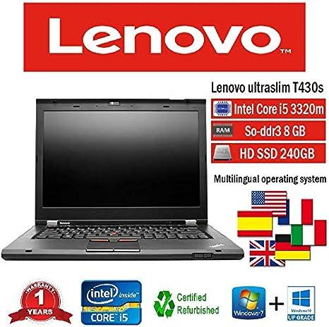Lenovo portátil T430s i5 3320 M 2.60 GHz 8 GB 240 GB SSD W10 Pro ...