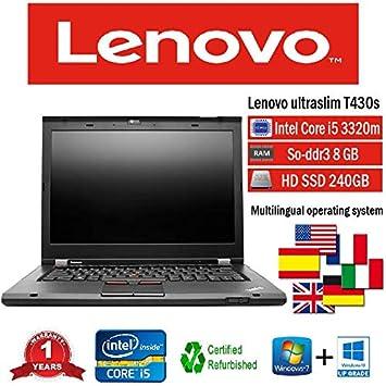 Lenovo portátil T430s i5 3320 M 2.60 GHz 8 GB 240 GB SSD W10 Pro (Certificado y General para embragues): Amazon.es: Informática