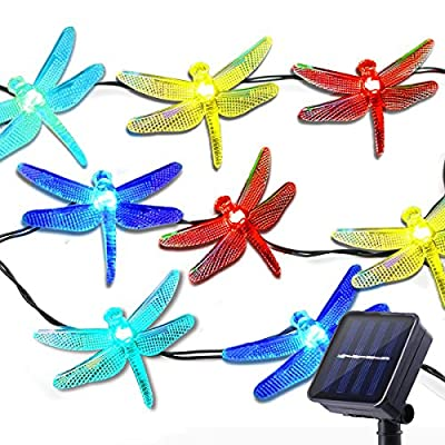 Lalapao Christmas Solar Decor Lights,15.5ft 20 LED 8 Modes Multi Color Dragonfly Fairy String Light for Bedroom Decorative, Outdoor, Holiday, Patio, Landscape, Home, Valentines, Gift(Multi Color)