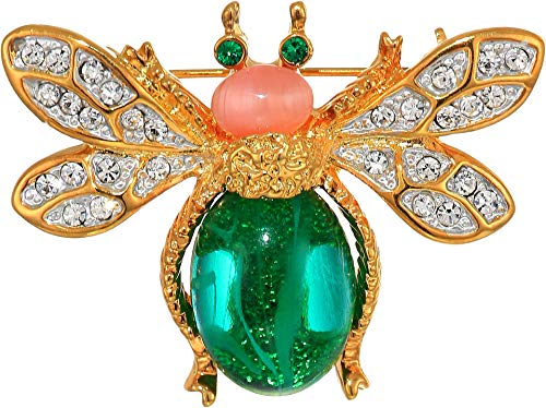 en's Gold Two-Tone Rhine Crystal Emerald Cabochon Body Pink Cab Head Bee Pin Emerald/Pink One Size ()