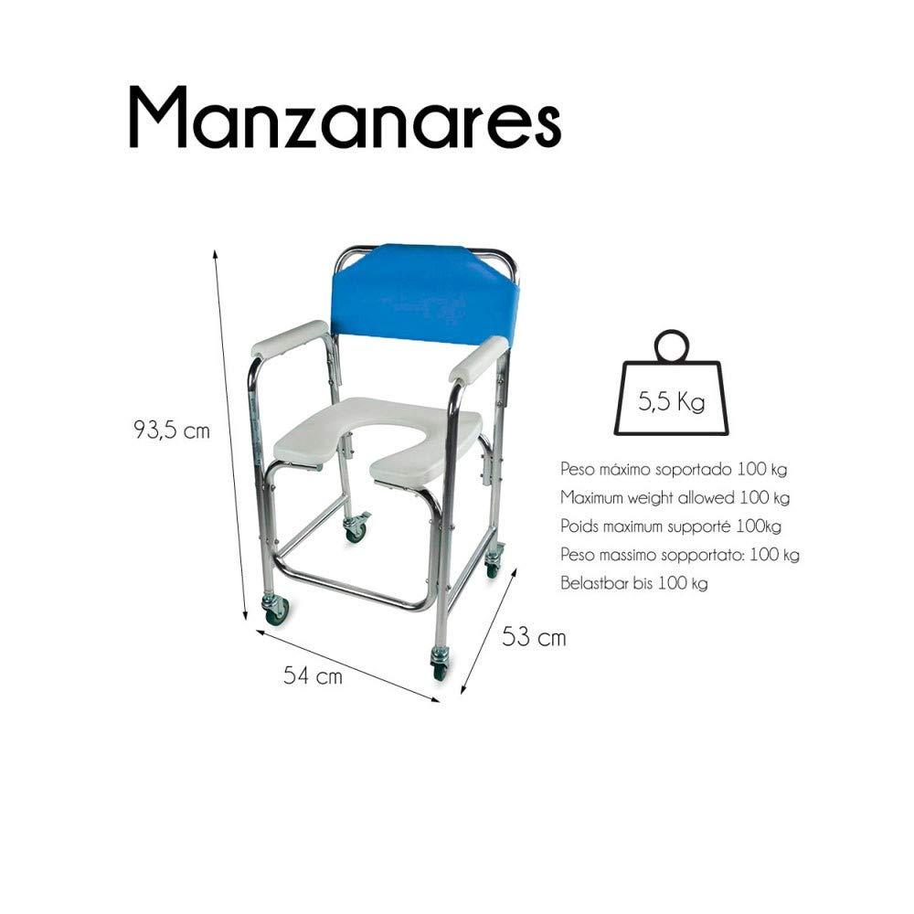 Mobiclinic Silla WC/Inodoro | De Aluminio, con Ruedas y reposabrazos Acolchados | Color Azul | Mod. Manzanares: Amazon.es: Hogar