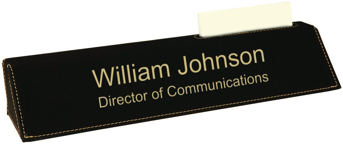 Personalized Office Desk Name Plate - Over 30 Different Design (Business Card Holder 10.5'', Black Faux Leather)