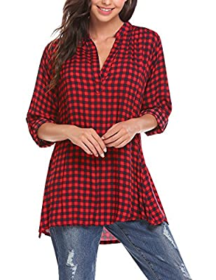 Zeagoo Women's Casual Long Sleeve Plaid Shirts V-Neck Tunic Pullover Blouse Top