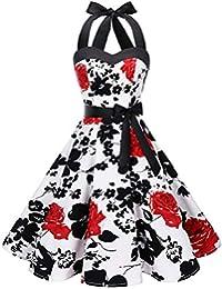 Dresstells® Women's Vintage Rockabilly Halter Polka Dot Audrey 50s Retro Bridesmaid Cocktail Party Prom Dress