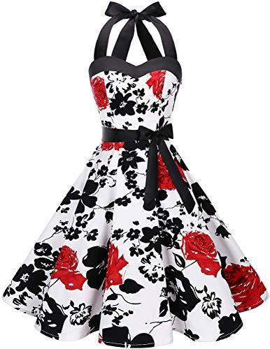 DRESSTELLS 50s Retro Halter Rockabilly Polka Dots Audrey Dress Cocktail Dress White Red Flower XS