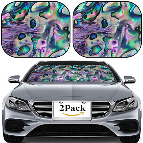MSD Car Sun Shade for Windshield Universal Fit 2 Pack Sunshade, Block Sun Glare, UV and Heat, Protect Car Interior, Close up Background of Blue Green and Purple Abalone Pearl ()