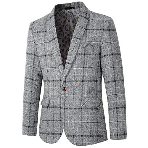 Men's Casual One Button Slim Fit Blazer Suit Jacket (603 Grey, M) ()
