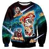 RAISEVERN Unisex Ugly Christmas Cat Sweater Hip Hop