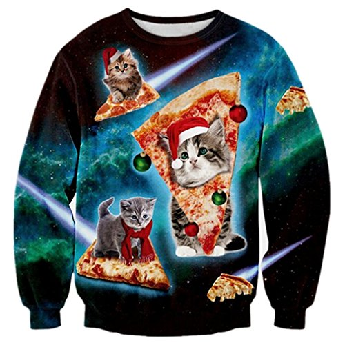 RAISEVERN Unisex Cute Ugly Christmas Surfing Cat Printed Galaxy Novelty Xmas Pullover Sweater Sweatshirt for Womens Mens, 2017 Style Christmas Cat 2, Medium]()